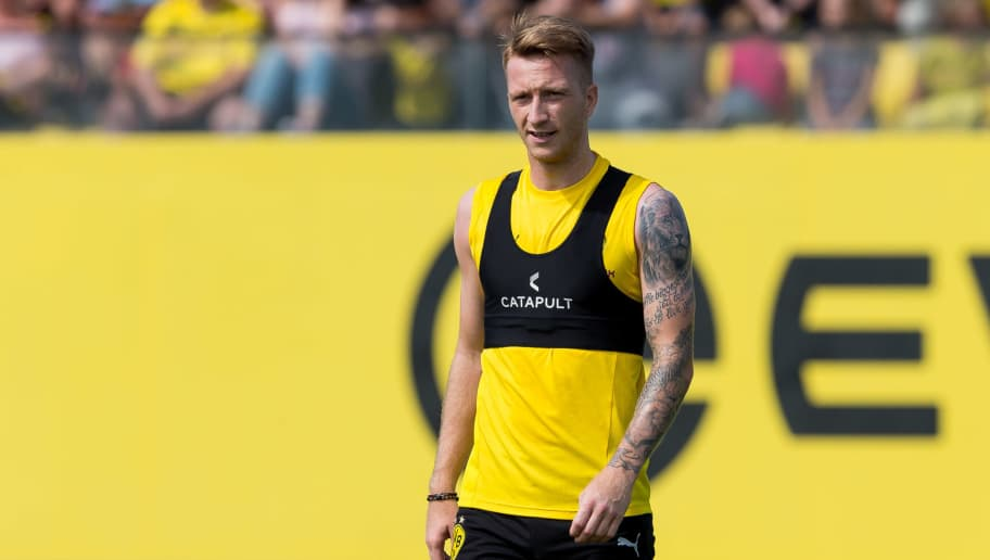DORTMUND, GERMANY - JULY 30: Marco Reus of Borussia Dortmund looks on during the Borussia Dortmund Training Session on July 30, 2018 in Dortmund, Germany. (Photo by TF-Images/Getty Images)