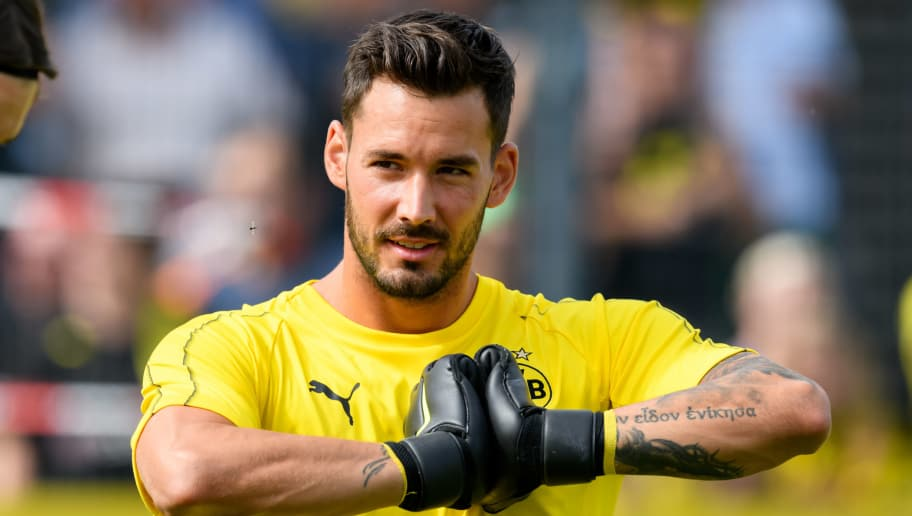 DORTMUND, GERMANY - JULY 30: Goalkeeper Roman Buerki of Borussia Dortmund looks on during the Borussia Dortmund Training Session on July 30, 2018 in Dortmund, Germany. (Photo by TF-Images/Getty Images)