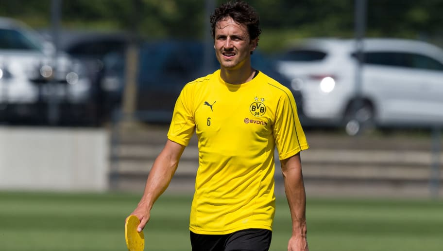 DORTMUND, GERMANY - JULY 30: Thomas Delaney of Borussia Dortmund looks on during the Borussia Dortmund Training Session on July 30, 2018 in Dortmund, Germany. (Photo by TF-Images/Getty Images)