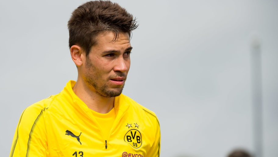 DORTMUND, GERMANY - AUGUST 26: Raphael Guerreiro of Borussia Dortmund looks on during the Borussia Dortmund training session on August 26, 2018 in Dortmund, Germany. (Photo by TF-Images/Getty Images)