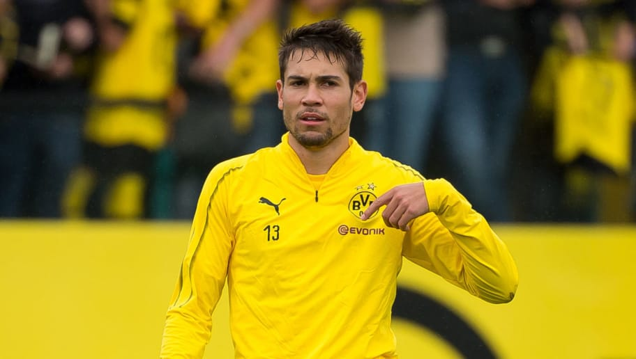 DORTMUND, GERMANY - AUGUST 26: Raphael Guerreiro of Borussia Dortmund gestures during the Borussia Dortmund training session on August 26, 2018 in Dortmund, Germany. (Photo by TF-Images/Getty Images)