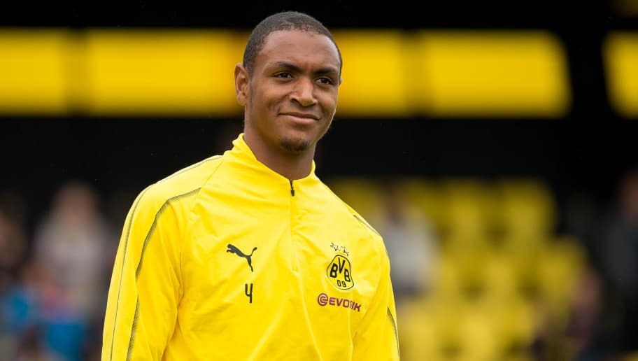 DORTMUND, GERMANY - AUGUST 26: Abdou Diallo of Borussia Dortmund looks on during the Borussia Dortmund training session on August 26, 2018 in Dortmund, Germany. (Photo by TF-Images/Getty Images)