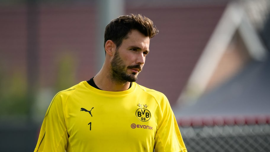 DORTMUND, GERMANY - SEPTEMBER 05: Goalkeeper Roman Buerki of Borussia Dortmund looks on during the Borussia Dortmund training session on September 5, 2018 in Dortmund, Germany. (Photo by TF-Images/Getty Images)