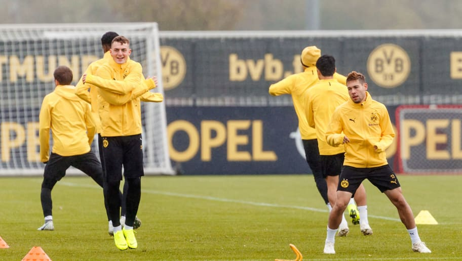 DORTMUND, GERMANY - OCTOBER 23: Players of Borussia Dortmund in action during a training session at BVB training center on October 23, 2018 in Dortmund, Germany. (Photo by TF-Images/Getty Images)