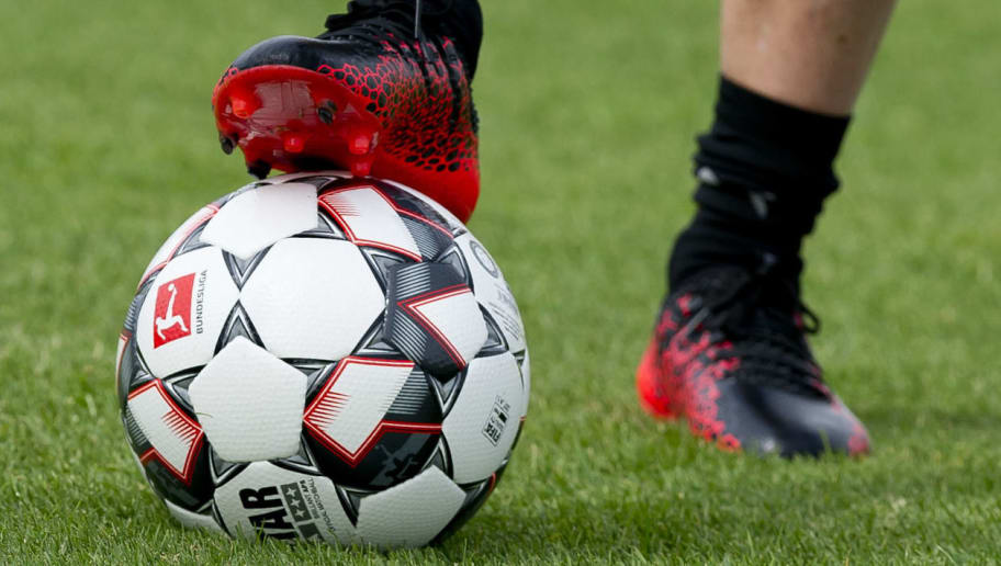 DORTMUND, GERMANY - JULY 09: The new official Bundesliga matchball from Derbystar is seen during a training session at BVB trainings center on July 9, 2018 in Dortmund, Germany. (Photo by TF-Images/Getty Images)