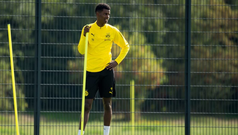 DORTMUND, GERMANY - SEPTEMBER 15: Alexander Isak of Borussia Dortmund looks on during the Borussia Dortmund training session on September 15, 2018 in Dortmund, Germany. (Photo by TF-Images/Getty Images)