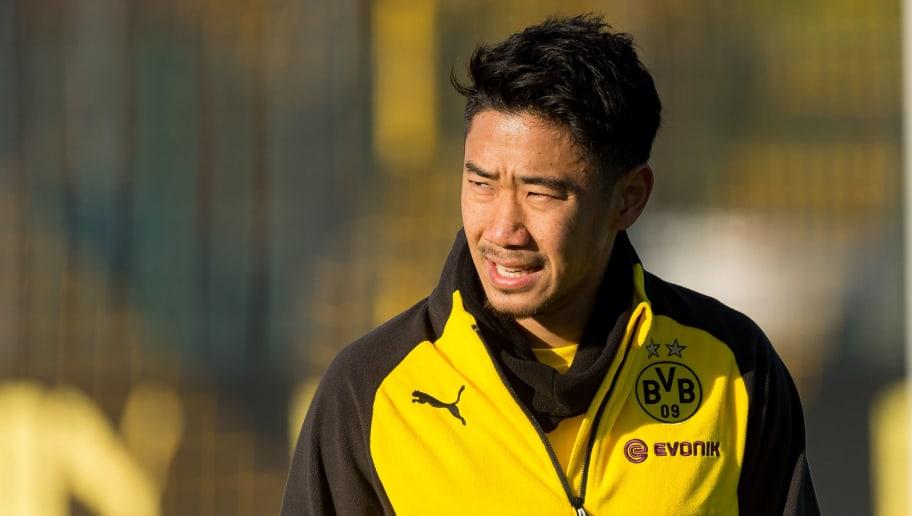 DORTMUND, GERMANY - NOVEMBER 15: Shinji Kagawa of Borussia Dortmund looks on during a training session at BVB training center on November 15, 2018 inDORTMUND, Germany. (Photo by TF-Images/Getty Images)