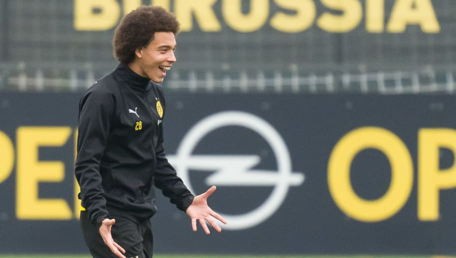 DORTMUND, GERMANY - DECEMBER 06: Axel Witsel of Borussia Dortmund gestures during a training session at BVB training center on December 6, 2018 in Dortmund, Germany. (Photo by TF-Images/TF-Images via Getty Images)