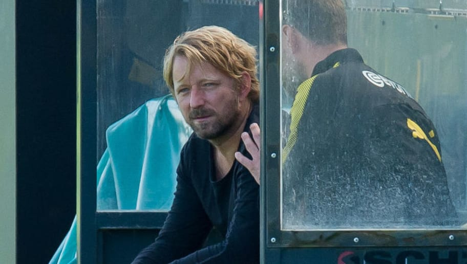 DORTMUND, GERMANY - SEPTEMBER 04: Sven Mislintat of Dortmund looks on during a training session at the BVB Training center on September 4, 2017 in Dortmund, Germany. (Photo by TF-Images/TF-Images via Getty Images)