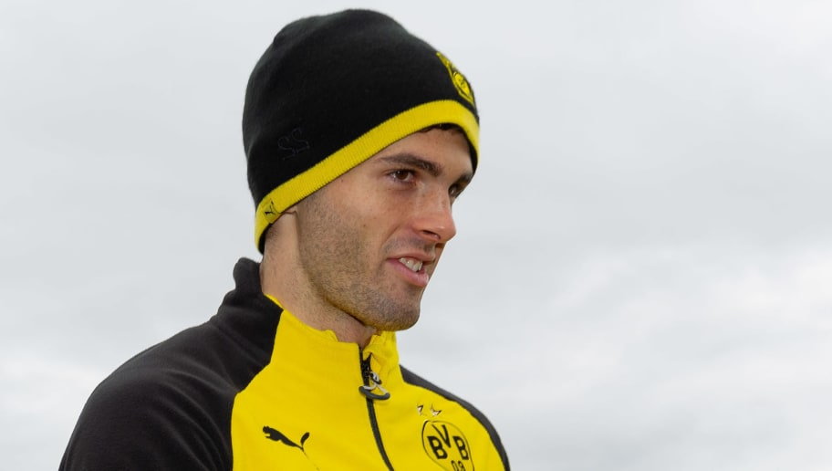 DORTMUND, GERMANY - NOVEMBER 29: Christian Pulisic of Dortmund looks on during a training session at BVB training center on November 29, 2018 in Dortmund, Germany.(Photo by TF-Images/TF-Images via Getty Images)