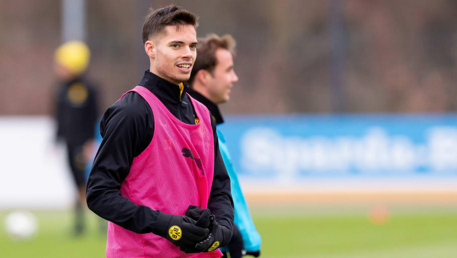 DORTMUND, GERMANY - NOVEMBER 29: Julian Weigl of Dortmund looks on during a training session at BVB training center on November 29, 2018 in Dortmund, Germany.(Photo by TF-Images/TF-Images via Getty Images)