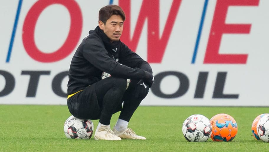DORTMUND, GERMANY - DECEMBER 06: Shinji Kagawa of Borussia Dortmund looks on during a training session at BVB training center on December 6, 2018 in Dortmund, Germany. (Photo by TF-Images/TF-Images via Getty Images)