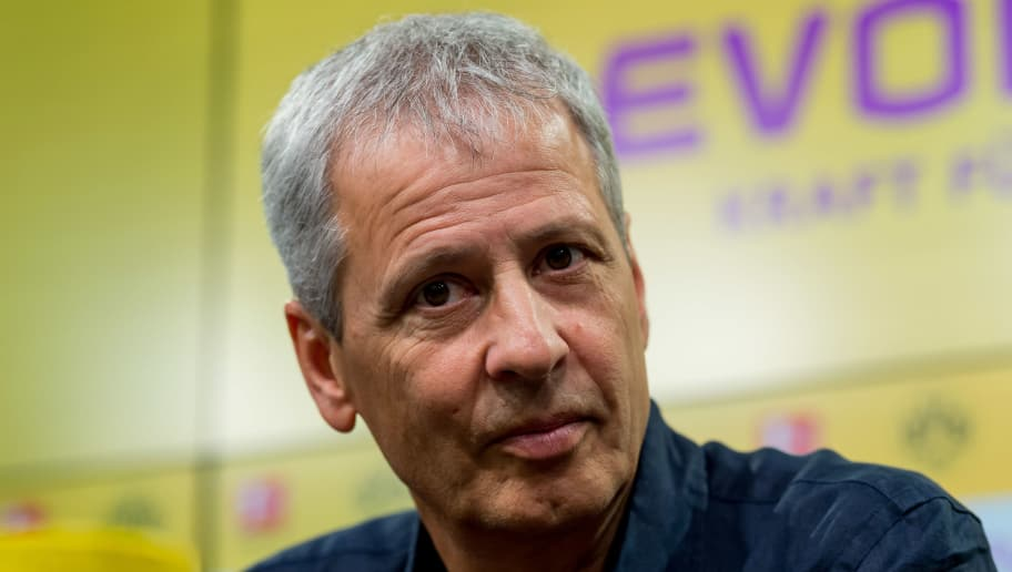 DORTMUND, GERMANY - JULY 06: coach Lucien Favre of Borussia Dortmund looks on during the press conference on July 6, 2018 in Dortmund, Germany. (Photo by TF-Images/Getty Images)
