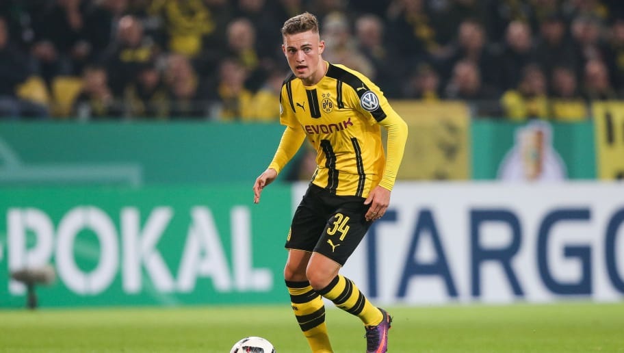 DORTMUND, GERMANY - OCTOBER 26: Jacob Bruun Larsen of Dortmund plays the ball during DFB Cup second round match between Borussia Dortmund and 1. FC Union Berlin at Signal Iduna Park on October 26, 2016 in Dortmund, Germany. (Photo by Maja Hitij/Bongarts/Getty Images)