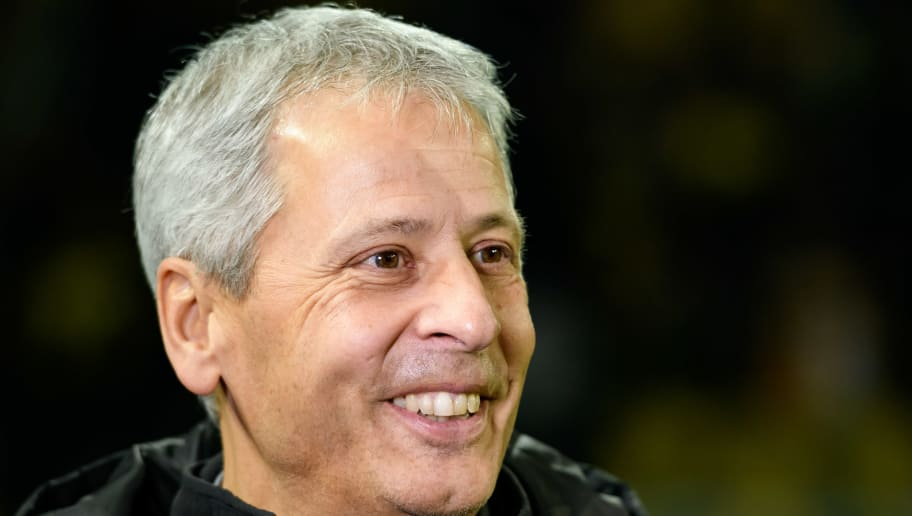 DORTMUND, GERMANY - OCTOBER 31: Head coach Lucien Favre of Borussia Dortmund laughs prior the DFB Cup match between Borussia Dortmund and 1. FC Union Berlin at Signal Iduna Park on October 31, 2018 in Dortmund, Germany. (Photo by TF-Images/Getty Images)