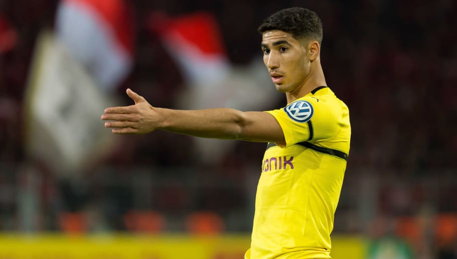 DORTMUND, GERMANY - OCTOBER 31: Achraf Hakimi of Borussia Dortmund gestures during the DFB Cup match between Borussia Dortmund and 1. FC Union Berlin at Signal Iduna Park on October 31, 2018 in Dortmund, Germany. (Photo by TF-Images/Getty Images)