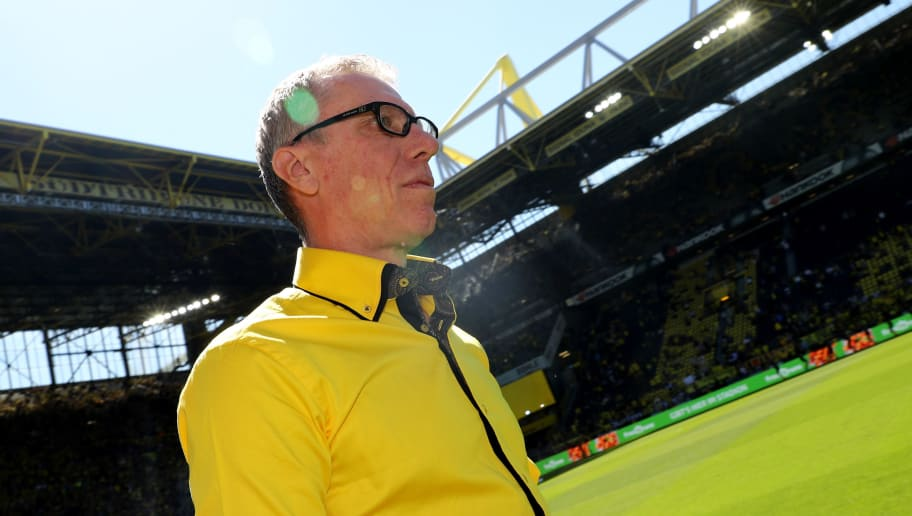 DORTMUND, GERMANY - MAY 05: Head coach Peter Stoeger of Dortmund looks on prior to the Bundesliga match between Borussia Dortmund and 1. FSV Mainz 05 at Signal Iduna Park on May 5, 2018 in Dortmund, Germany. (Photo by Christof Koepsel/Bongarts/Getty Images)
