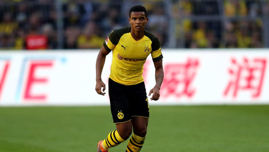DORTMUND, GERMANY - MAY 05: Manuek Akanji of Dortmund runs with the ball during the Bundesliga match between Borussia Dortmund and 1. FSV Mainz 05 at Signal Iduna Park on May 5, 2018 in Dortmund, Germany. (Photo by Christof Koepsel/Bongarts/Getty Images)