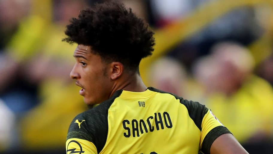 DORTMUND, GERMANY - MAY 05: Jadon Sancho of Dortmund is seen during the Bundesliga match between Borussia Dortmund and 1. FSV Mainz 05 at Signal Iduna Park on May 5, 2018 in Dortmund, Germany. (Photo by Christof Koepsel/Bongarts/Getty Images)