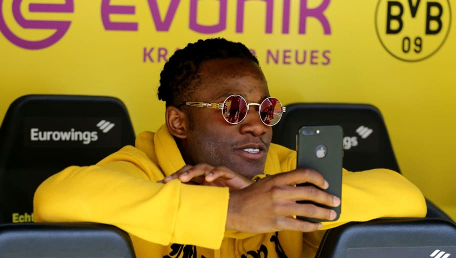 DORTMUND, GERMANY - MAY 05: Michy Batshuayi of Dortmund looks on prior to the Bundesliga match between Borussia Dortmund and 1. FSV Mainz 05 at Signal Iduna Park on May 5, 2018 in Dortmund, Germany. (Photo by Christof Koepsel/Bongarts/Getty Images)