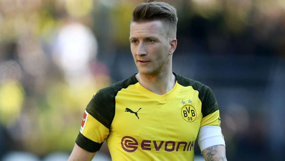 DORTMUND, GERMANY - MAY 05: Marco Reus of Dortmund is seen during the Bundesliga match between Borussia Dortmund and 1. FSV Mainz 05 at Signal Iduna Park on May 5, 2018 in Dortmund, Germany. (Photo by Christof Koepsel/Bongarts/Getty Images)