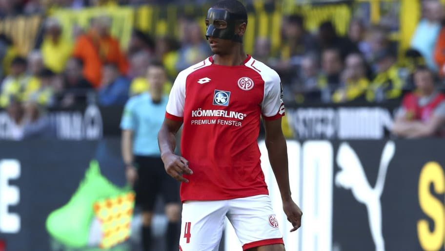 DORTMUND, GERMANY - MAY 05: Abdou Diallo of Mainz controls the ball during the Bundesliga match between Borussia Dortmund and 1. FSV Mainz 05 at Signal Iduna Park on May 5, 2018 in Dortmund, Germany. (Photo by TF-Images/Getty Images)