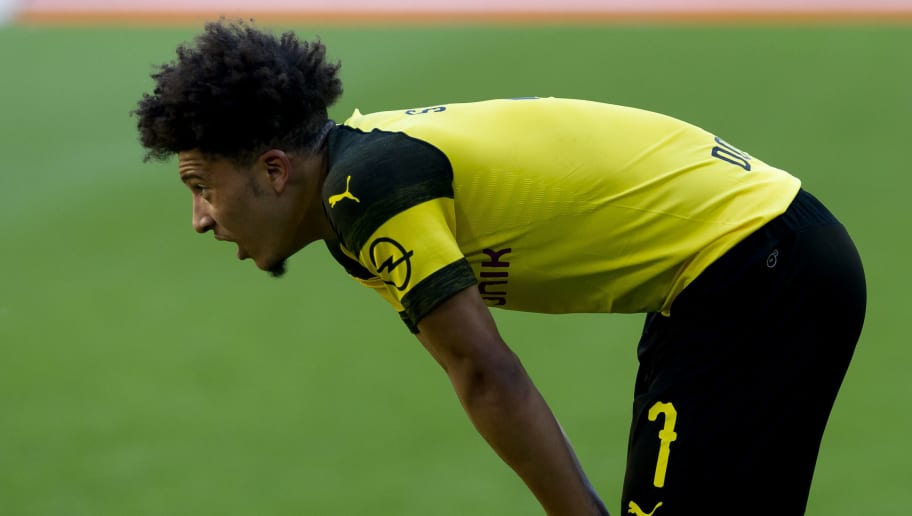 DORTMUND, GERMANY - MAY 05: Jadon Sancho of Dortmund looks on during the Bundesliga match between Borussia Dortmund and 1. FSV Mainz 05 at Signal Iduna Park on May 5, 2018 in Dortmund, Germany. (Photo by TF-Images/Getty Images)