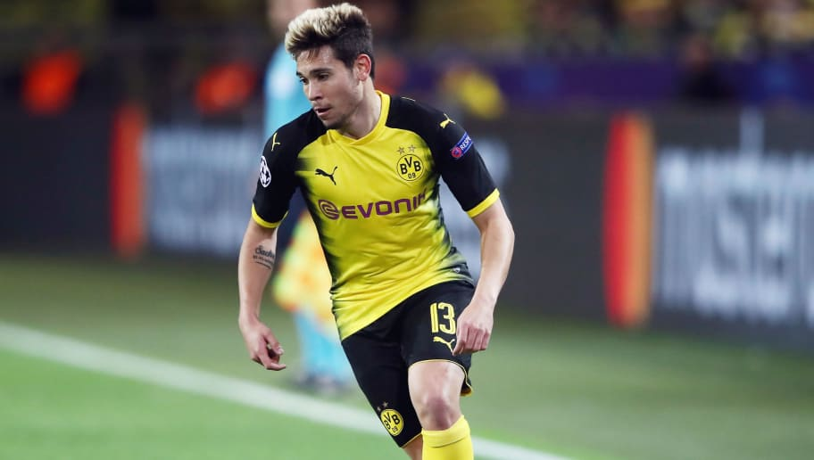 DORTMUND, GERMANY - NOVEMBER 01: Raphael Guerreiro of Dortmund controls the ball during the UEFA Champions League group H match between Borussia Dortmund and APOEL Nikosia at Signal Iduna Park on November 1, 2017 in Dortmund, Germany.  (Photo by Alex Grimm/Bongarts/Getty Images,)