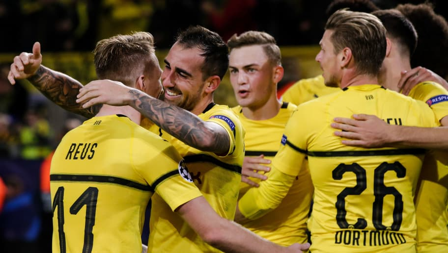 DORTMUND, GERMANY - OCTOBER 3: Paco Alcacer of Borussia Dortmund, celebrate the 2-0, with Marco Reus of Borussia Dortmund during the UEFA Champions League  match between Borussia Dortmund v AS Monaco at the Signal Iduna Park on October 3, 2018 in Dortmund Germany (Photo by Erwin Spek/Soccrates/Getty Images)