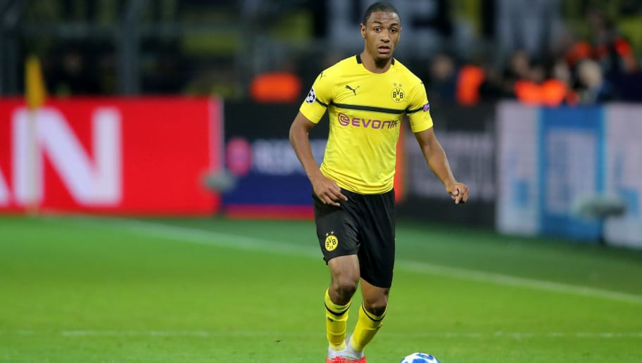 DORTMUND, GERMANY - OCTOBER 03: Abdou Diallo of Dortmund runs with the ball during the Group A match of the UEFA Champions League between Borussia Dortmund and AS Monaco at Signal Iduna Park on October 3, 2018 in Dortmund, Germany. (Photo by Christof Koepsel/Bongarts/Getty Images)