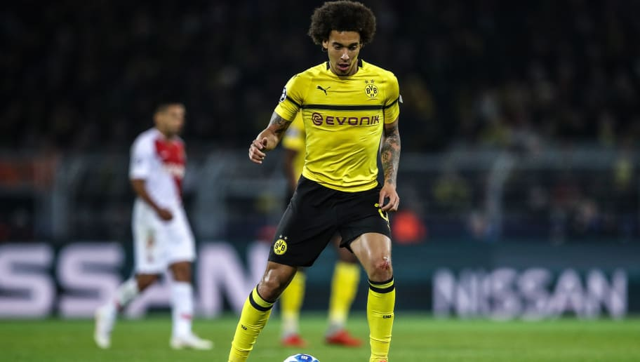 DORTMUND, GERMANY - OCTOBER 03: Axel Witsel #28 of Borussia Dortmund controls the ball during the Group A match of the UEFA Champions League between Borussia Dortmund and AS Monaco at Signal Iduna Park on October 3, 2018 in Dortmund, Germany. (Photo by Maja Hitij/Bongarts/Getty Images,)