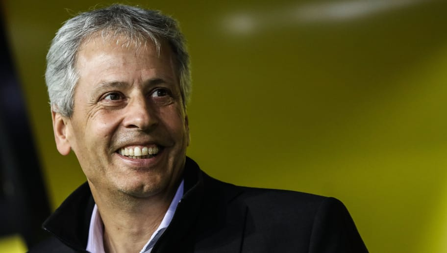 DORTMUND, GERMANY - OCTOBER 03: Head Coach Lucien Favre of Borussia Dortmund looks on prior to the Group A match of the UEFA Champions League between Borussia Dortmund and AS Monaco at Signal Iduna Park on October 3, 2018 in Dortmund, Germany. (Photo by Maja Hitij/Bongarts/Getty Images,)
