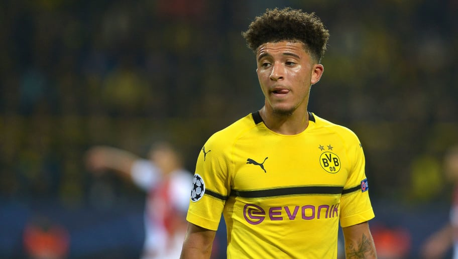 DORTMUND, GERMANY - OCTOBER 03: Jadon Sancho of Borussia Dortmund looks on during the Group A match of the UEFA Champions League between Borussia Dortmund and AS Monaco at Signal Iduna Park on October 3, 2018 in Dortmund, Germany. (Photo by TF-Images/TF-Images via Getty Images)