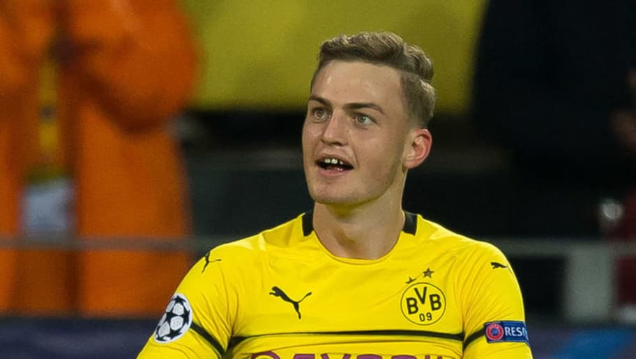 DORTMUND, GERMANY - OCTOBER 03: Jacob Bruun Larsen of Borussia Dortmund celebrates after scoring his team`s first goal during the Group A match of the UEFA Champions League between Borussia Dortmund and AS Monaco at Signal Iduna Park on October 3, 2018 in Dortmund, Germany. (Photo by TF-Images/TF-Images via Getty Images)
