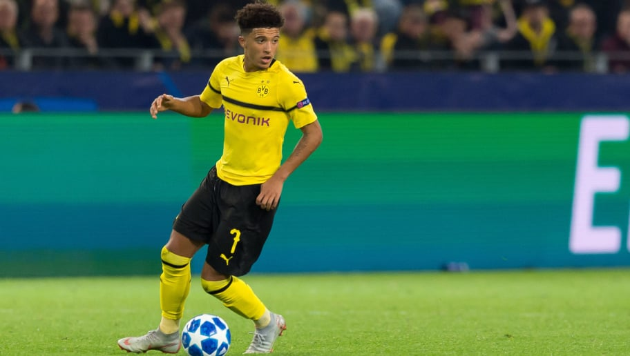 DORTMUND, GERMANY - OCTOBER 03: Jadon Sancho of Borussia Dortmund controls the ball during the Group A match of the UEFA Champions League between Borussia Dortmund and AS Monaco at Signal Iduna Park on October 3, 2018 in Dortmund, Germany. (Photo by TF-Images/TF-Images via Getty Images)