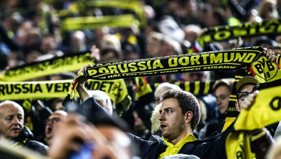 DORTMUND, GERMANY - OCTOBER 03: Fans of Borussia Dortmund prior to the Group A match of the UEFA Champions League between Borussia Dortmund and AS Monaco at Signal Iduna Park on October 3, 2018 in Dortmund, Germany. (Photo by Maja Hitij/Bongarts/Getty Images,)