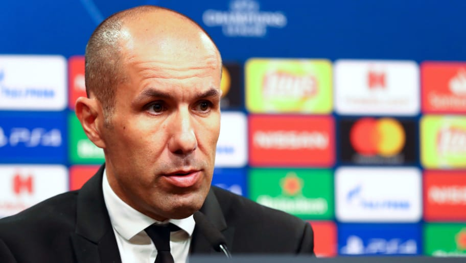 DORTMUND, GERMANY - OCTOBER 03: Head coach Jose Leonardo Nunes Alves Sousa Jardim of AS Monaco attends the press conference after the Group A match of the UEFA Champions League between Borussia Dortmund and AS Monaco at Signal Iduna Park on October 3, 2018 in Dortmund, Germany. (Photo by TF-Images/Getty Images)