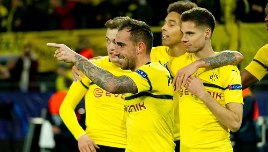 DORTMUND, GERMANY - OCTOBER 03: Paco Alcacer of Borussia Dortmund celebrates after scoring his team`s second goal during the Group A match of the UEFA Champions League between Borussia Dortmund and AS Monaco at Signal Iduna Park on October 3, 2018 in Dortmund, Germany. (Photo by TF-Images/TF-Images via Getty Images)