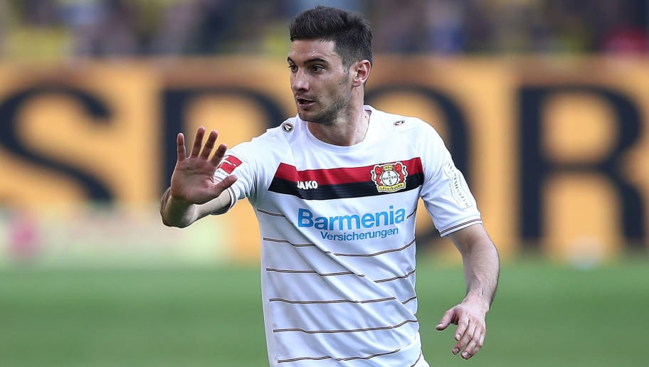 DORTMUND, GERMANY - APRIL 21: Lucas Alario of Leverkusen reacts during the Bundesliga match between Borussia Dortmund and Bayer 04 Leverkusen at Signal Iduna Park on April 21, 2018 in Dortmund, Germany. (Photo by Lars Baron/Bongarts/Getty Images)