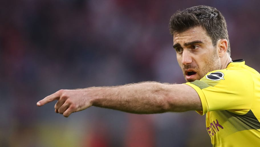 DORTMUND, GERMANY - APRIL 21: Sokratis Papastathopoulos #25 of Borussia Dortmund reacts during the Bundesliga match between Borussia Dortmund and Bayer 04 Leverkusen at Signal Iduna Park on April 21, 2018 in Dortmund, Germany. (Photo by Maja Hitij/Bongarts/Getty Images)