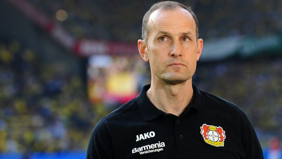DORTMUND, GERMANY - APRIL 21: Head coach Heiko Herrlich of Leverkusen looks on prior to the Bundesliga match between Borussia Dortmund and Bayer 04 Leverkusen at Signal Iduna Park on April 21, 2018 in Dortmund, Germany. (Photo by TF-Images/Getty Images)
