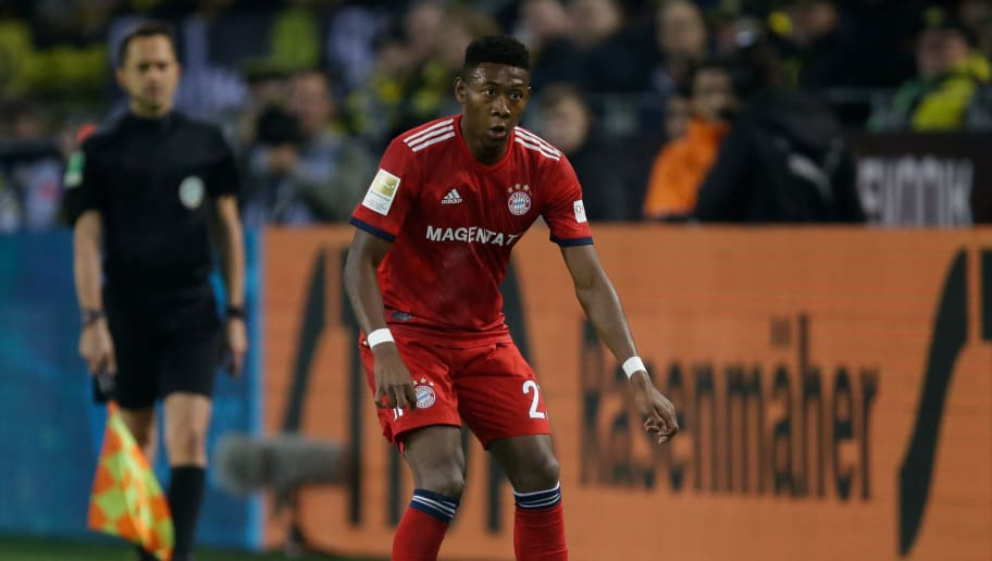 DORTMUND, GERMANY - NOVEMBER 10: David Alaba of Bayern Munchen  during the German Bundesliga  match between Borussia Dortmund v Bayern Munchen at the Signal Iduna Park on November 10, 2018 in Dortmund Germany (Photo by Peter Lous/Soccrates/Getty Images)