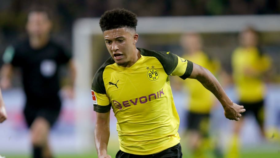 DORTMUND, GERMANY - NOVEMBER 10: Jadon Sancho of Borussia Dortmund  during the German Bundesliga  match between Borussia Dortmund v Bayern Munchen at the Signal Iduna Park on November 10, 2018 in Dortmund Germany (Photo by Peter Lous/Soccrates/Getty Images)