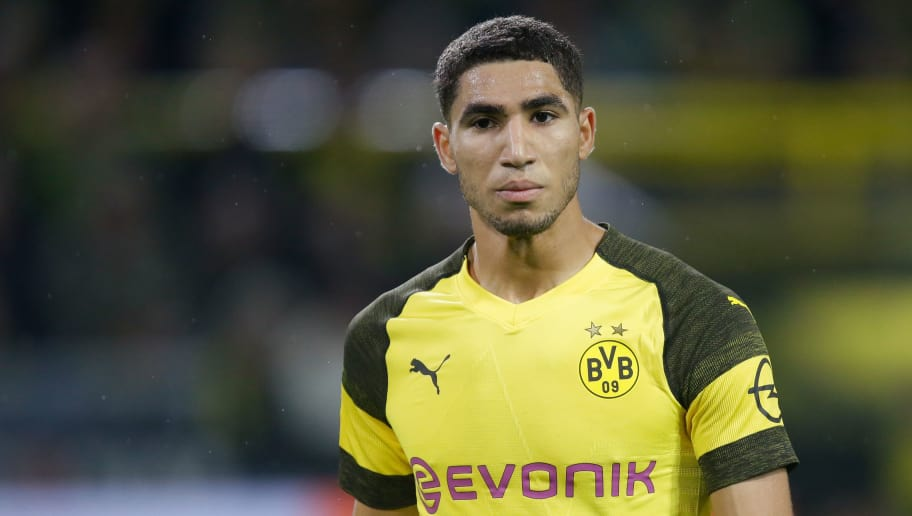 DORTMUND, GERMANY - NOVEMBER 10: Achraf Hakimi of Borussia Dortmund  during the German Bundesliga  match between Borussia Dortmund v Bayern Munchen at the Signal Iduna Park on November 10, 2018 in Dortmund Germany (Photo by Peter Lous/Soccrates/Getty Images)