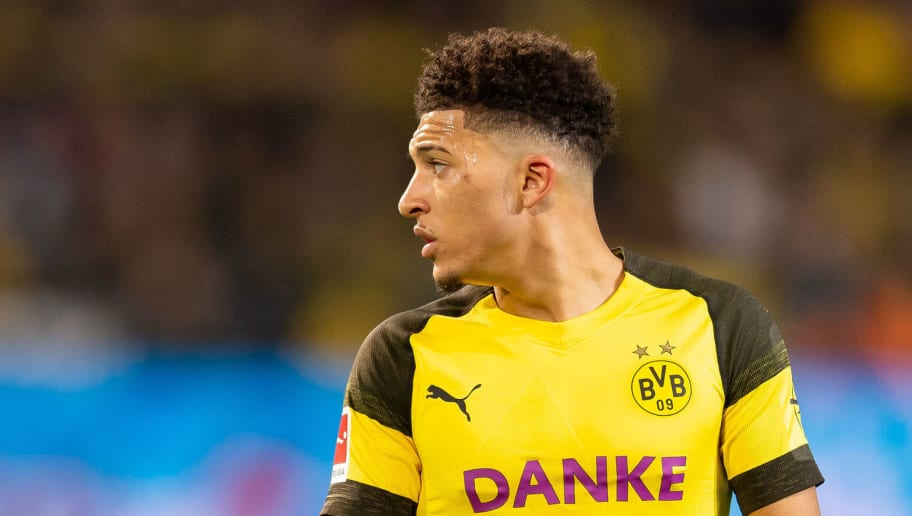 DORTMUND, GERMANY - DECEMBER 21: Jadon Sancho of Borussia Dortmund looks on during the Bundesliga match between Borussia Dortmund and Borussia Moenchengladbach at Signal Iduna Park on December 21, 2018 in Dortmund, Germany. (Photo by TF-Images/TF-Images via Getty Images)