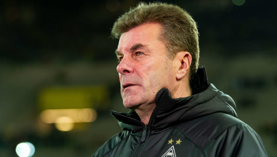 DORTMUND, GERMANY - DECEMBER 21: Head coach Dieter Hecking of Borussia Moenchengladbach looks on during the Bundesliga match between Borussia Dortmund and Borussia Moenchengladbach at Signal Iduna Park on December 21, 2018 in Dortmund, Germany. (Photo by TF-Images/TF-Images via Getty Images)