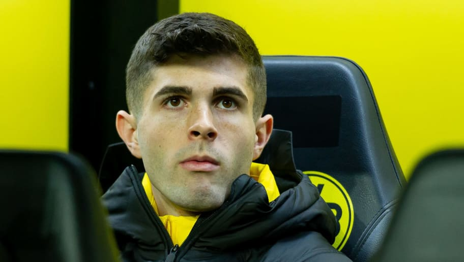 DORTMUND, GERMANY - DECEMBER 21: Christian Pulisic of Borussia Dortmund looks on during the Bundesliga match between Borussia Dortmund and Borussia Moenchengladbach at Signal Iduna Park on December 21, 2018 in Dortmund, Germany. (Photo by TF-Images/TF-Images via Getty Images)