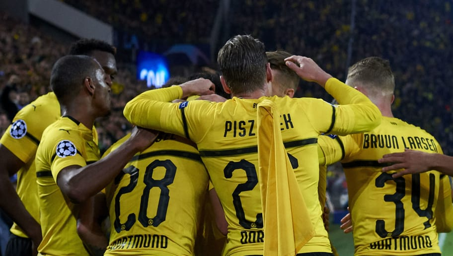 DORTMUND, GERMANY - OCTOBER 24:  Axel Witsel of Borussia Dortmund celebrates after scoring his team's first goal with his teammates during the Group A match of the UEFA Champions League between Borussia Dortmund and Club Atletico de Madrid at Signal Iduna Park on October 24, 2018 in Dortmund, Germany.  (Photo by Quality Sport Images/Getty Images)
