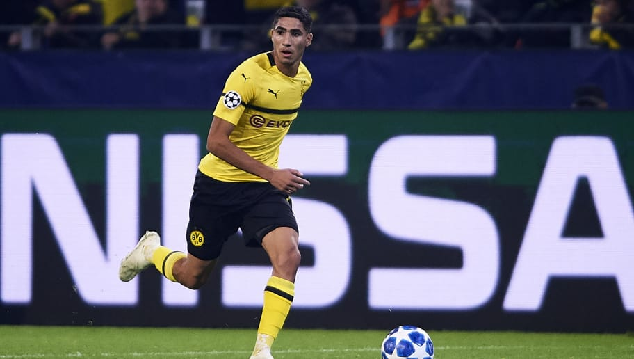 DORTMUND, GERMANY - OCTOBER 24:  Achraf Hakimi of Borussia Dortmund in action during the Group A match of the UEFA Champions League between Borussia Dortmund and Club Atletico de Madrid at Signal Iduna Park on October 24, 2018 in Dortmund, Germany.  (Photo by Quality Sport Images/Getty Images)