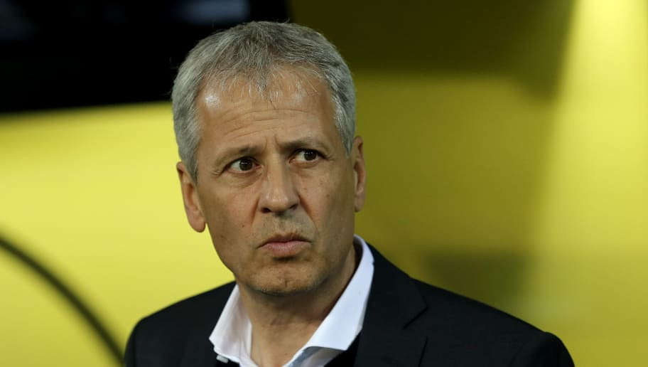 DORTMUND, GERMANY - OCTOBER 24: Head coach Lucien Favre of Dortmund looks on prior to  the Group A match of the UEFA Champions League between Borussia Dortmund and Club Atletico de Madrid at Signal Iduna Park on October 24, 2018 in Dortmund, Germany. (Photo by Christof Koepsel/Bongarts/Getty Images)